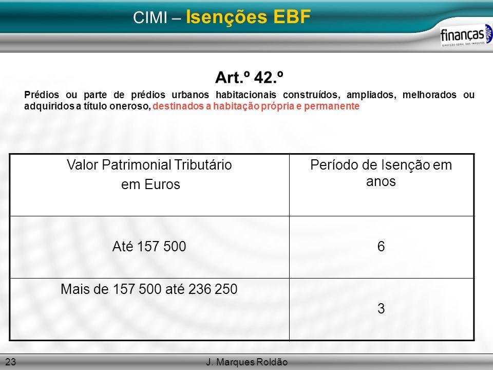 CIMI – Isenções EBF Art.º 42.º Valor Patrimonial Tributário em Euros