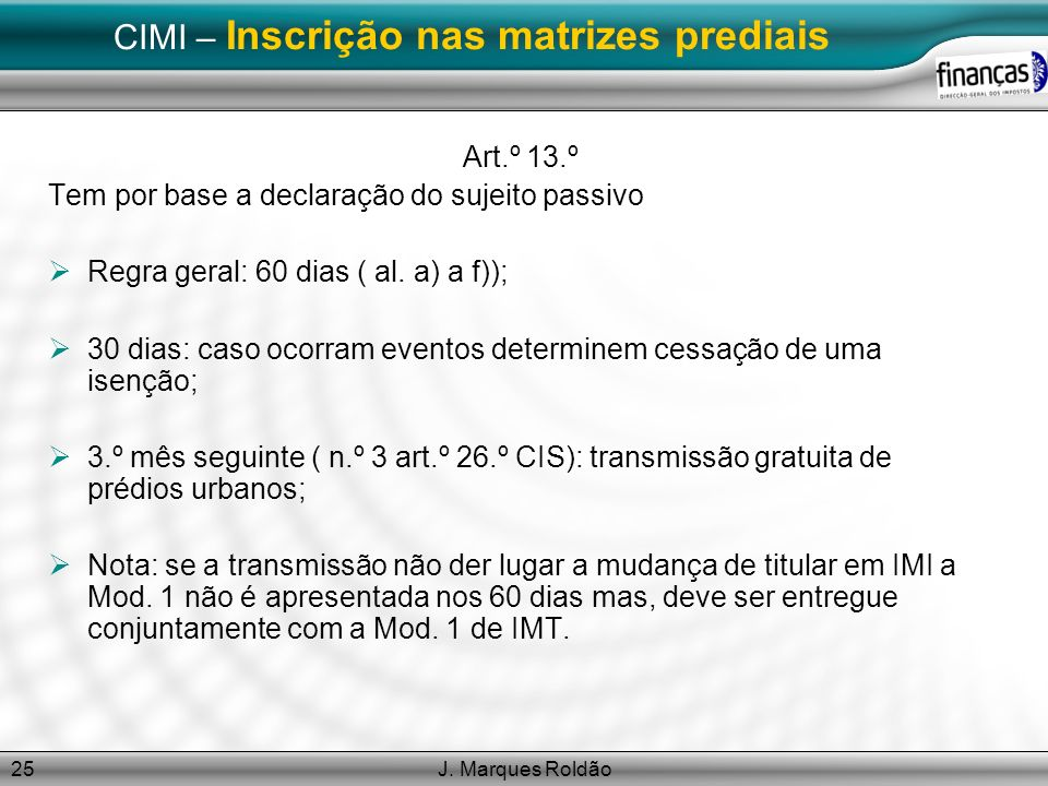 CIMI – Inscrição nas matrizes prediais