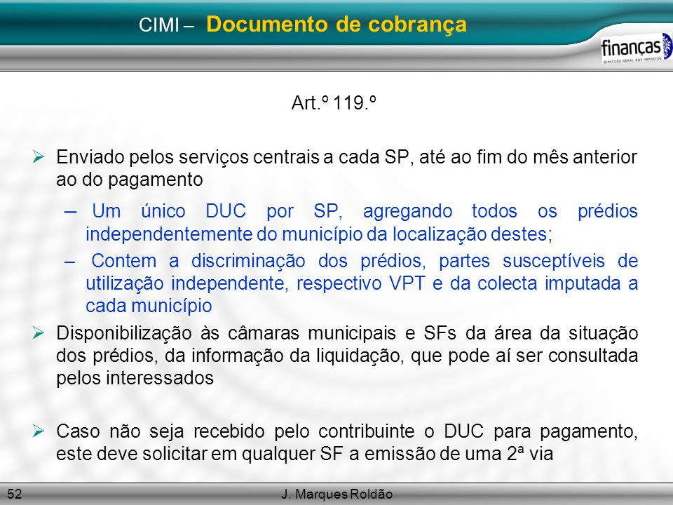 CIMI – Documento de cobrança