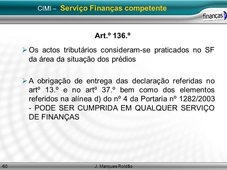 CIMI – Serviço Finanças competente