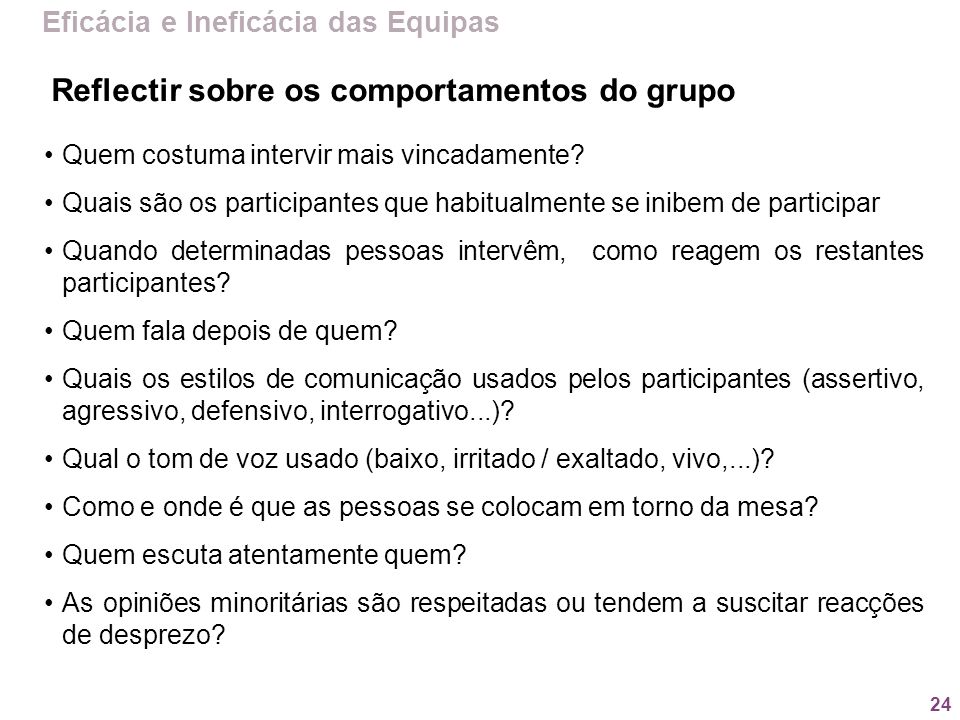 Reflectir sobre os comportamentos do grupo