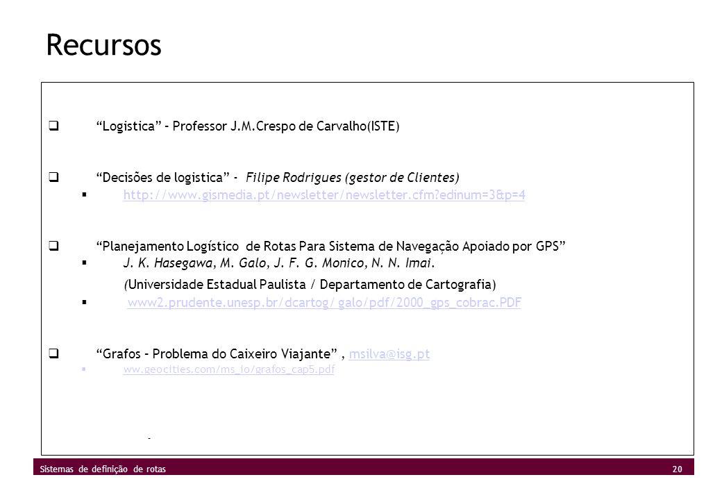 Recursos Logistica – Professor J.M.Crespo de Carvalho(ISTE) Decisões de logistica - Filipe Rodrigues (gestor de Clientes)