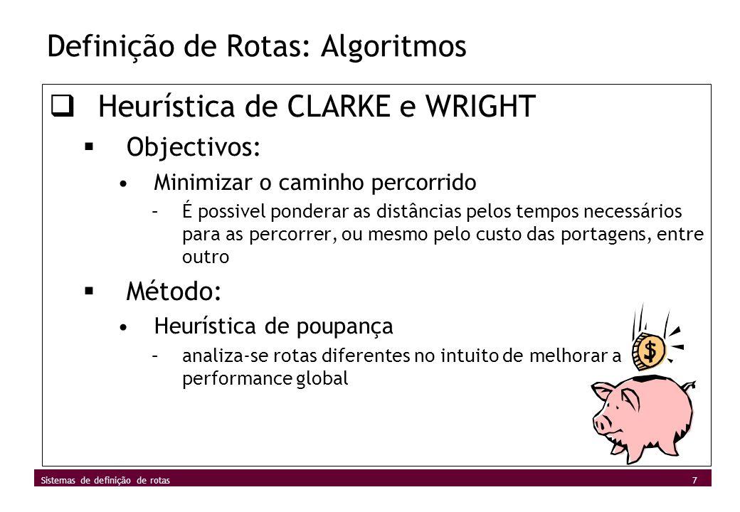 Definição de Rotas: Algoritmos