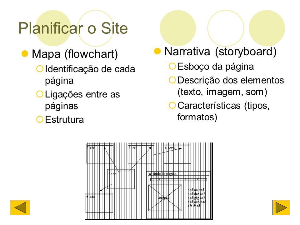 Planificar o Site Narrativa (storyboard) Mapa (flowchart)