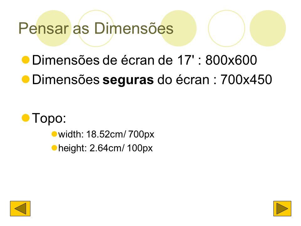 Pensar as Dimensões Dimensões de écran de 17 : 800x600