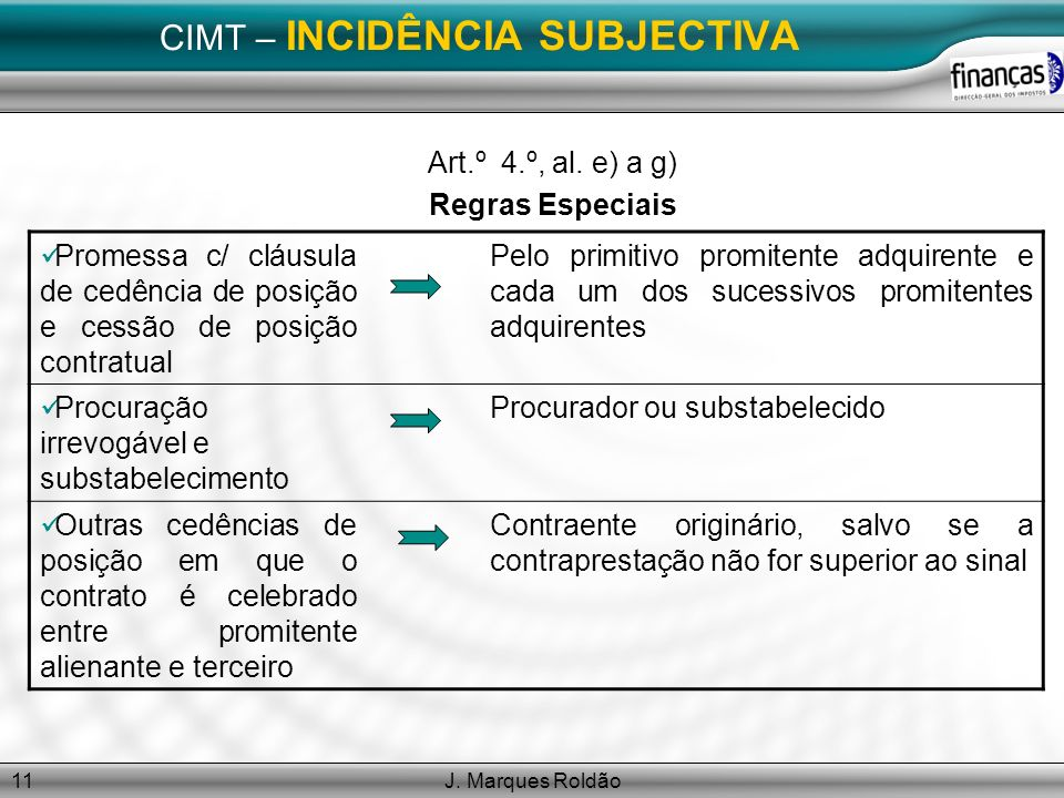 CIMT – INCIDÊNCIA SUBJECTIVA