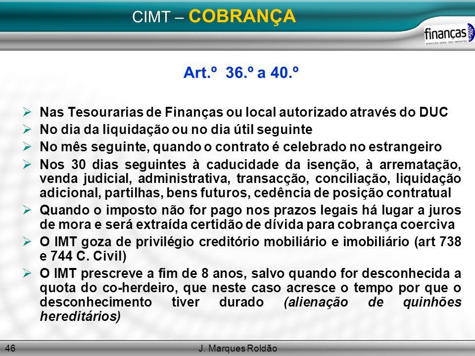 CIMT – COBRANÇA Art.º 36.º a 40.º
