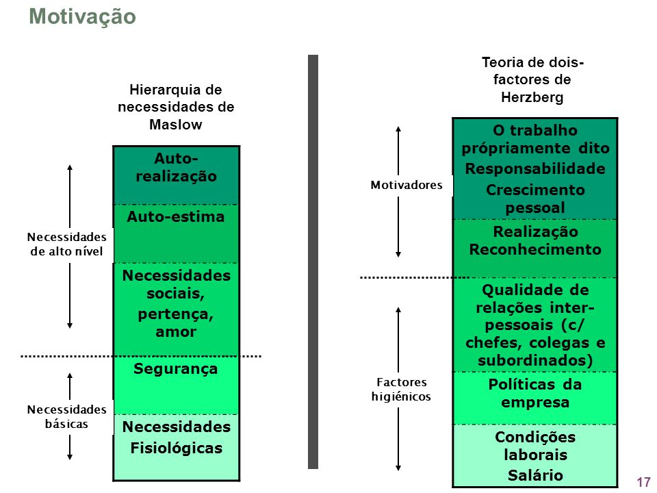 Motivação Teoria de dois-factores de Herzberg