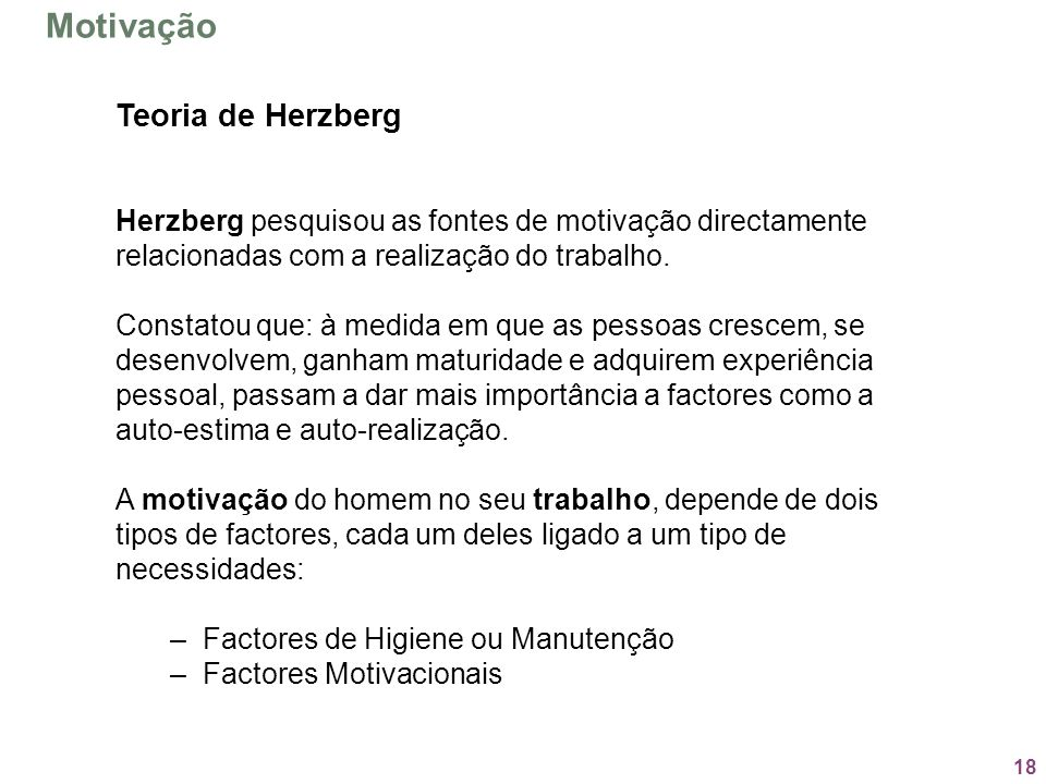 Motivação Teoria de Herzberg