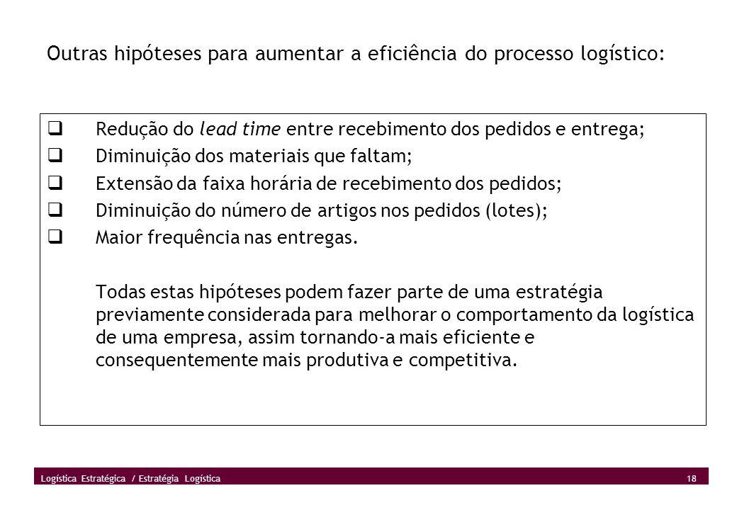 Outras hipóteses para aumentar a eficiência do processo logístico:
