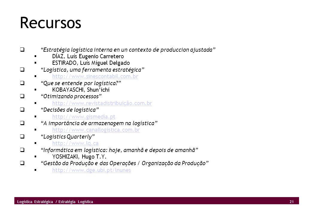 Recursos Estratégia logística interna en un contexto de produccion ajustada DÍAZ, Luís Eugenio Carretero.