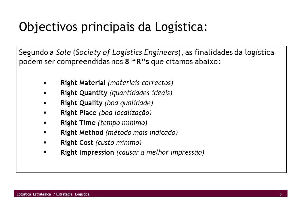 Objectivos principais da Logística: