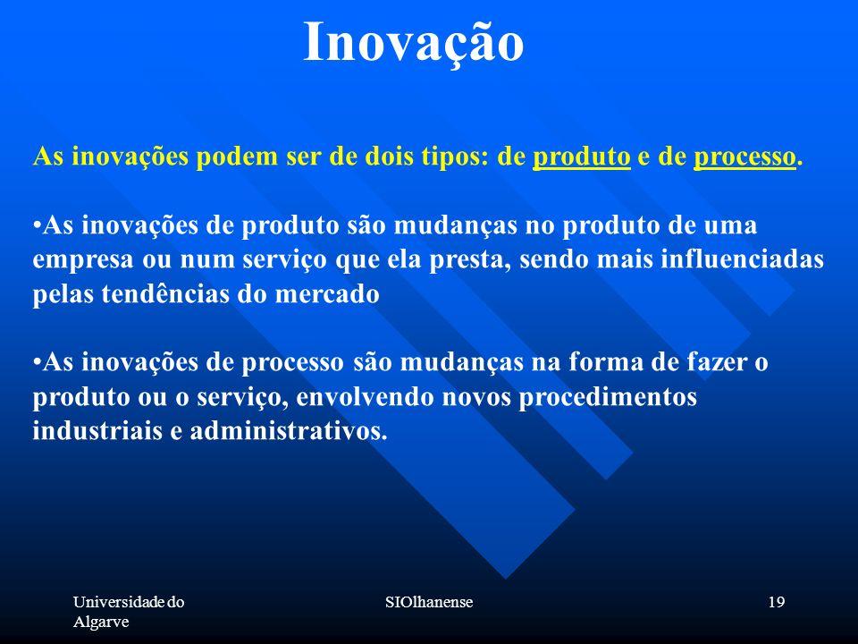 Inovação As inovações podem ser de dois tipos: de produto e de processo.