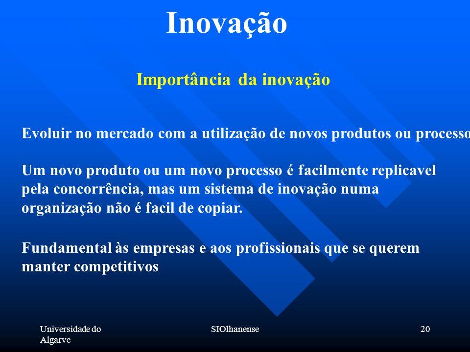 Inovação Importância da inovação