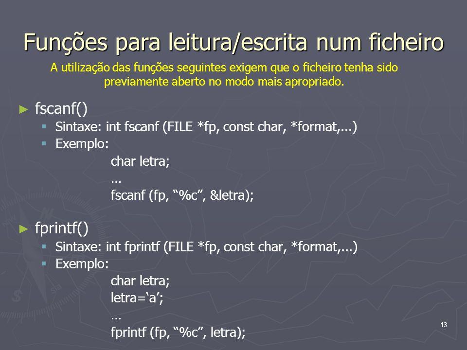 Funções para leitura/escrita num ficheiro