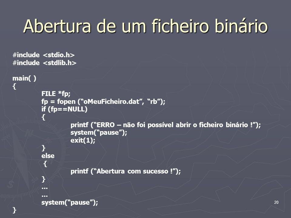 Abertura de um ficheiro binário