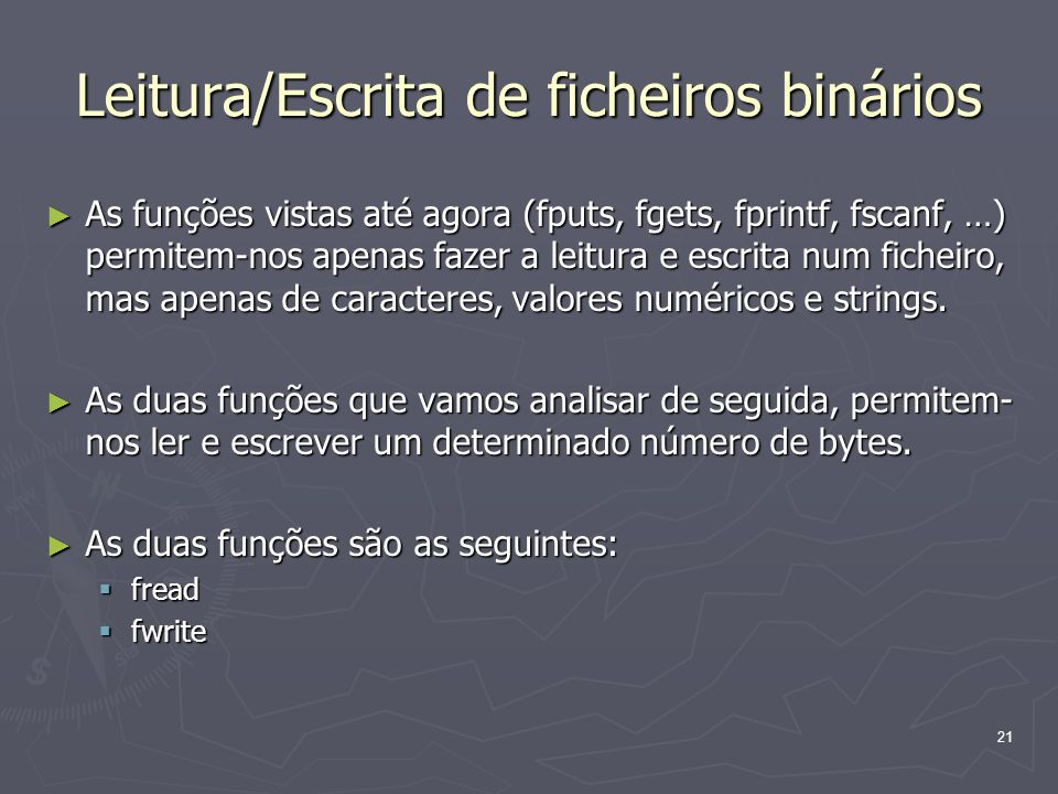 Leitura/Escrita de ficheiros binários