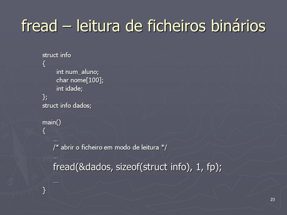 fread – leitura de ficheiros binários