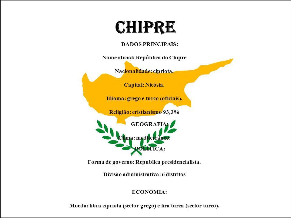 CHIPRE DADOS PRINCIPAIS: Nome oficial: República do Chipre