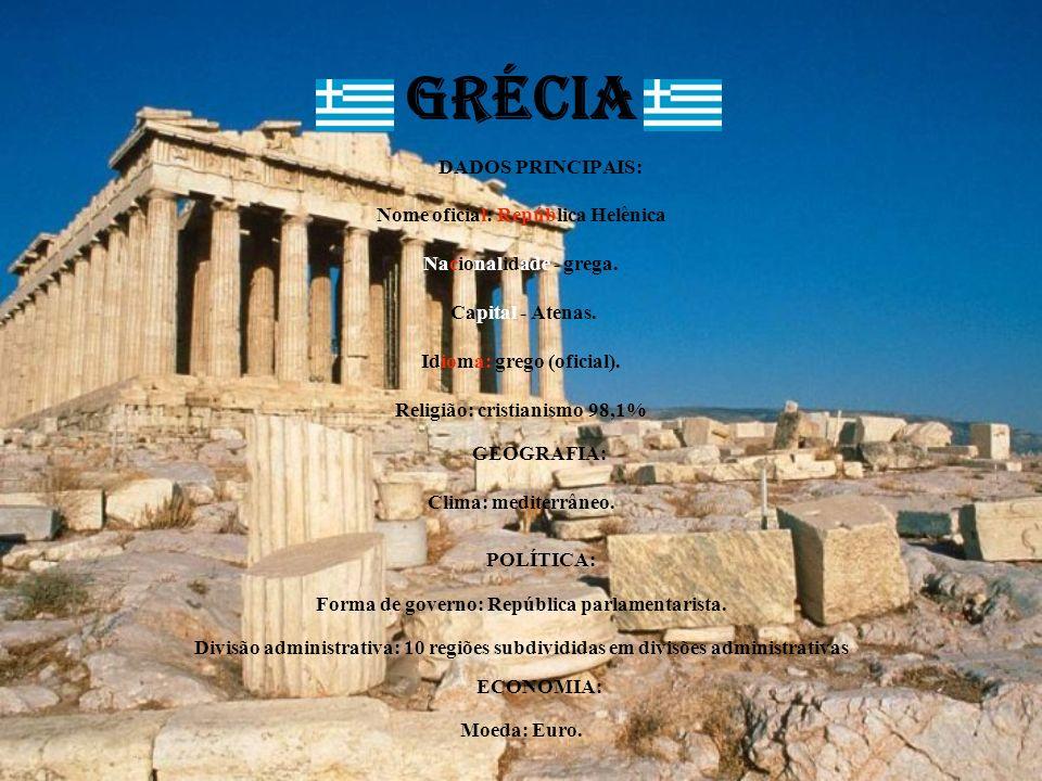 GRÉCIA DADOS PRINCIPAIS: Nome oficial: República Helênica