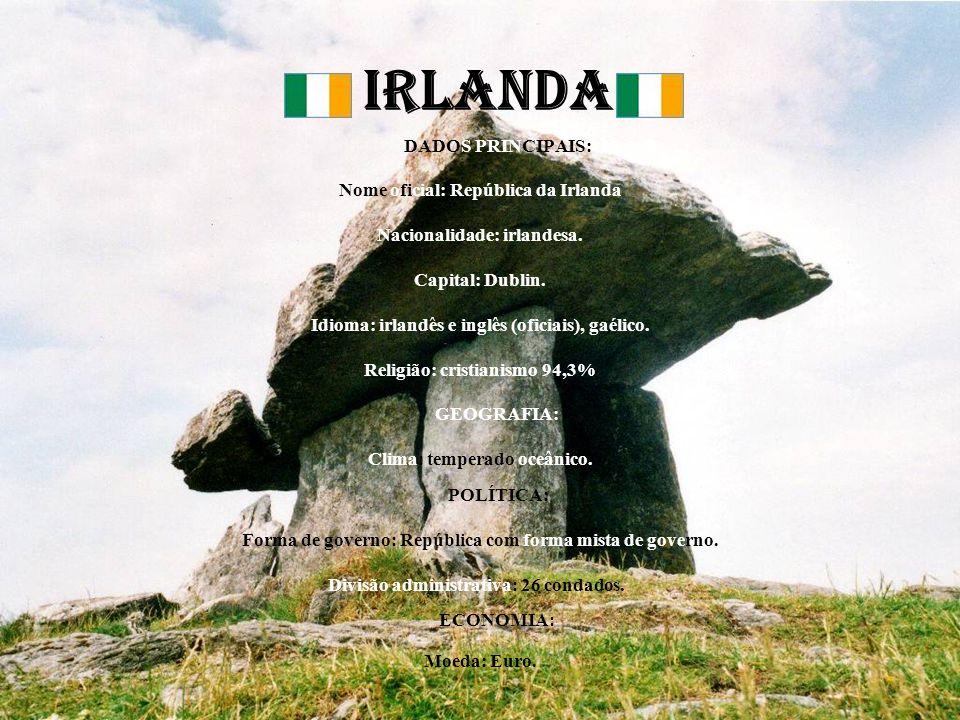 IRLANDA DADOS PRINCIPAIS: Nome oficial: República da Irlanda