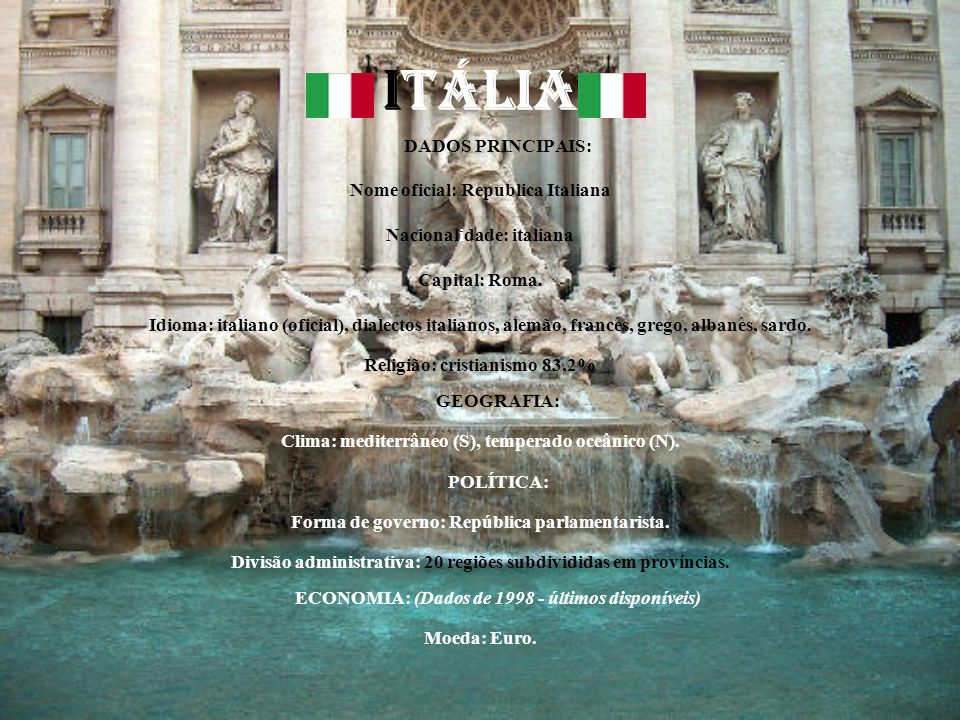ITÁLIA Nome oficial: Republica Italiana Nacionalidade: italiana