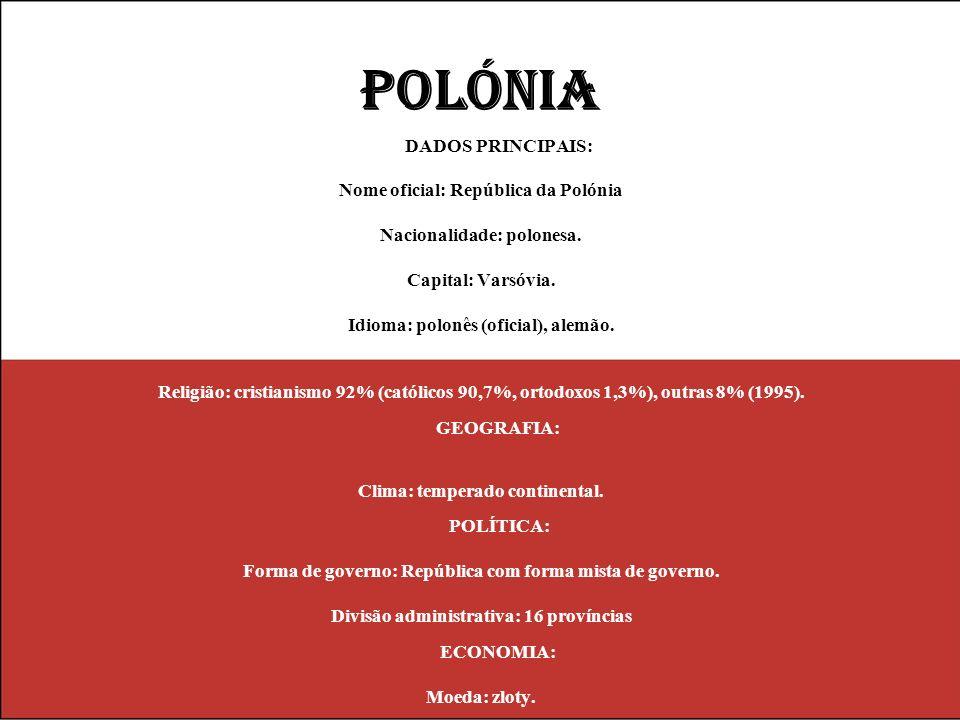 POLÓNIA DADOS PRINCIPAIS: Nome oficial: República da Polónia