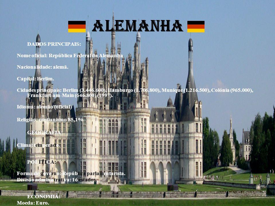 ALEMANHA DADOS PRINCIPAIS: Nome oficial: República Federal da Alemanha