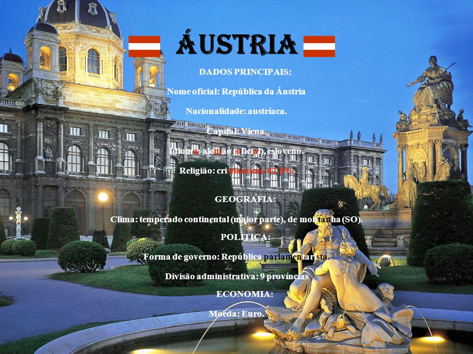 ÁUSTRIA DADOS PRINCIPAIS: Nome oficial: República da Áustria