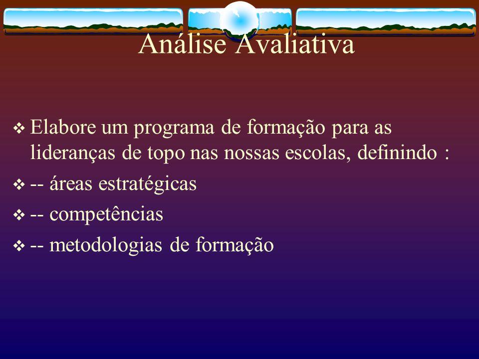 Análise Avaliativa Elabore um programa de formação para as lideranças de topo nas nossas escolas, definindo :