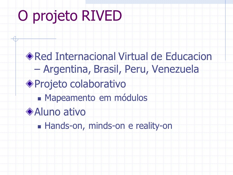 O projeto RIVED Red Internacional Virtual de Educacion – Argentina, Brasil, Peru, Venezuela. Projeto colaborativo.