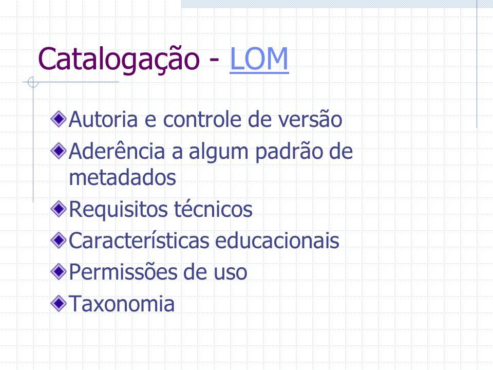 Catalogação - LOM Autoria e controle de versão