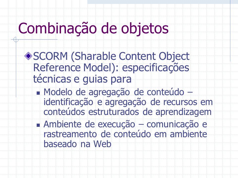 Combinação de objetosSCORM (Sharable Content Object Reference Model): especificações técnicas e guias para.