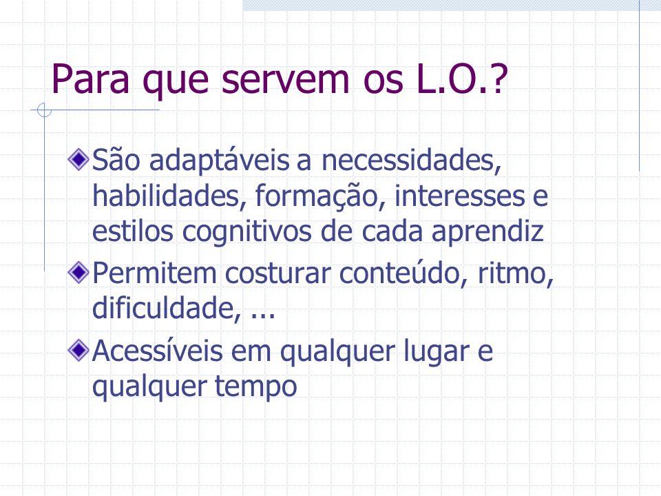 Para que servem os L.O. São adaptáveis a necessidades, habilidades, formação, interesses e estilos cognitivos de cada aprendiz.