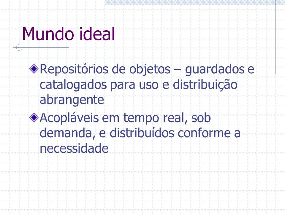Mundo ideal Repositórios de objetos – guardados e catalogados para uso e distribuição abrangente.