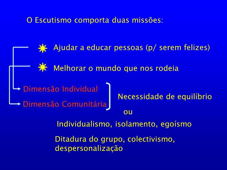 O Escutismo comporta duas missões: