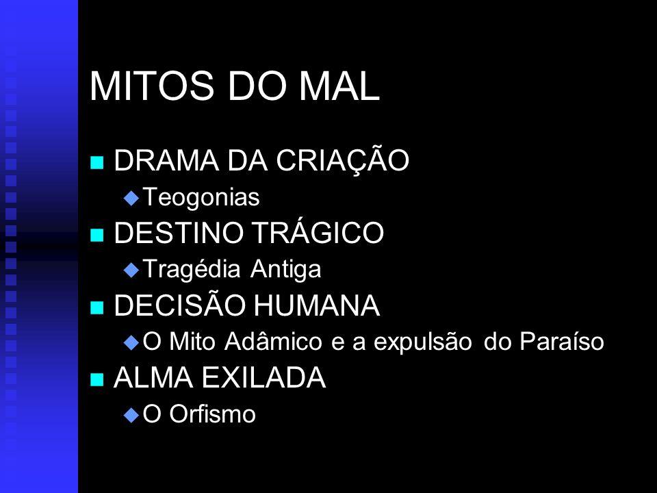 MITOS DO MAL DRAMA DA CRIAÇÃO DESTINO TRÁGICO DECISÃO HUMANA