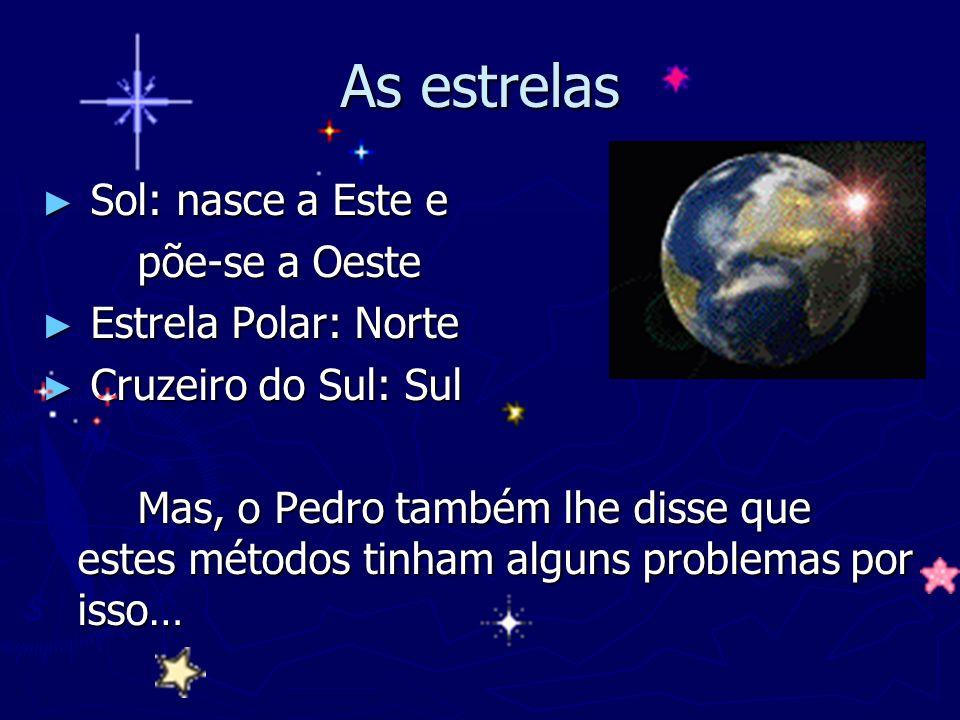As estrelas Sol: nasce a Este e põe-se a Oeste Estrela Polar: Norte