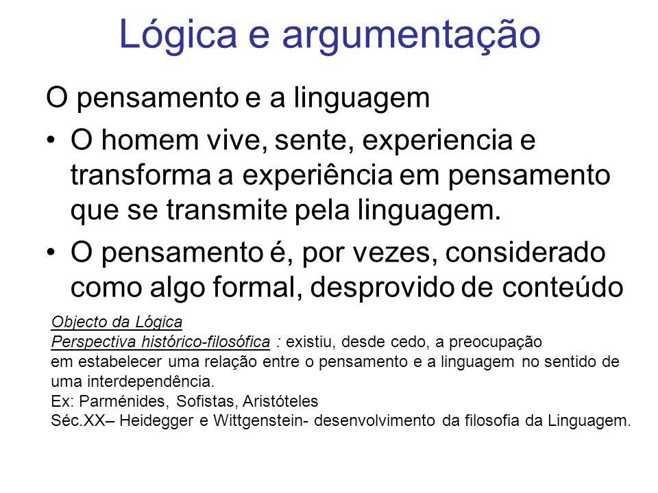Lógica e argumentação O pensamento e a linguagem