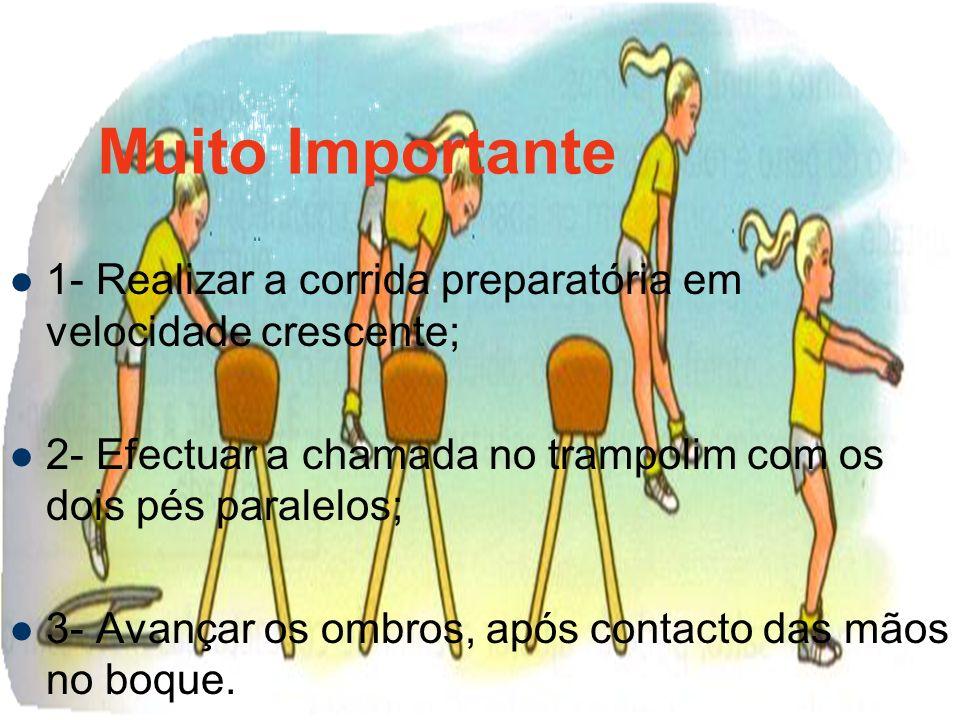 Muito Importante1- Realizar a corrida preparatória em velocidade crescente; 2- Efectuar a chamada no trampolim com os dois pés paralelos;