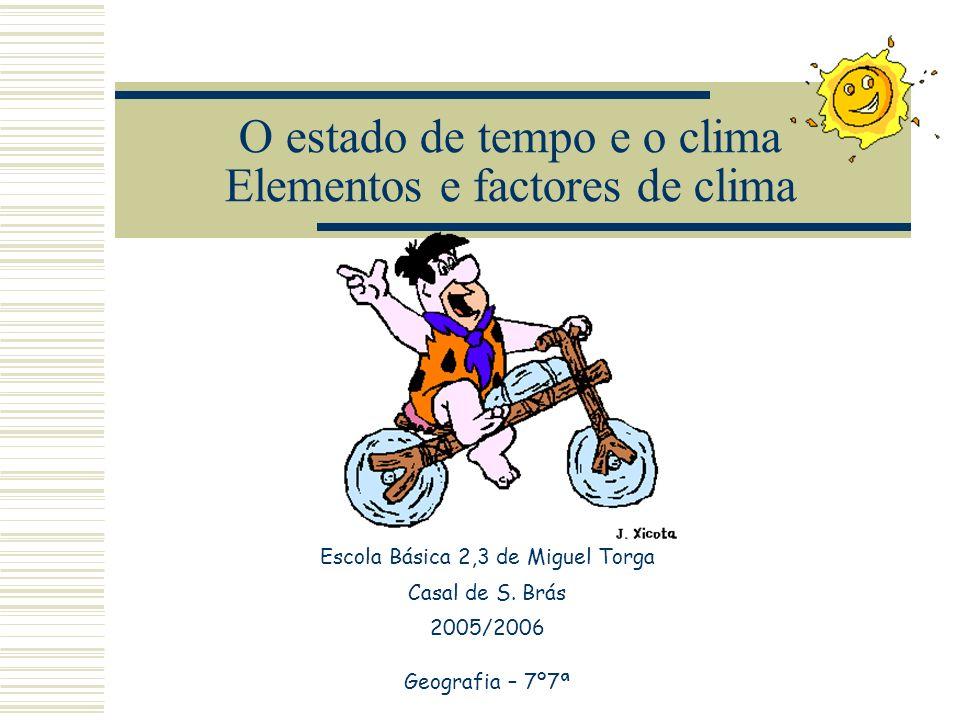 O estado de tempo e o clima Elementos e factores de clima