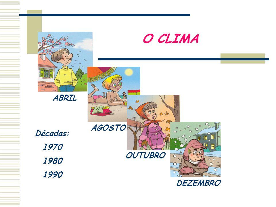 O CLIMA ABRIL AGOSTO Décadas: 1970 1980 1990 OUTUBRO DEZEMBRO