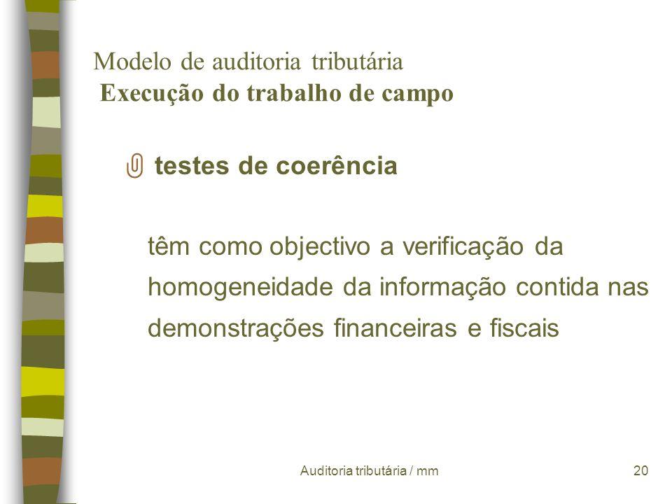 Modelo de auditoria tributária Execução do trabalho de campo