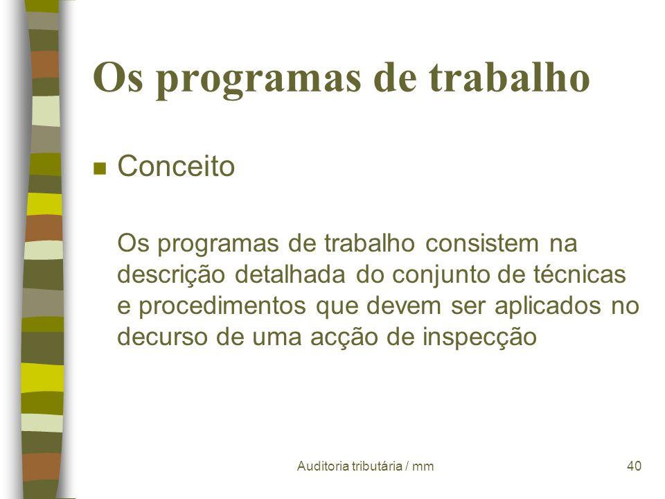 Os programas de trabalho