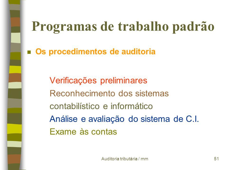 Programas de trabalho padrão