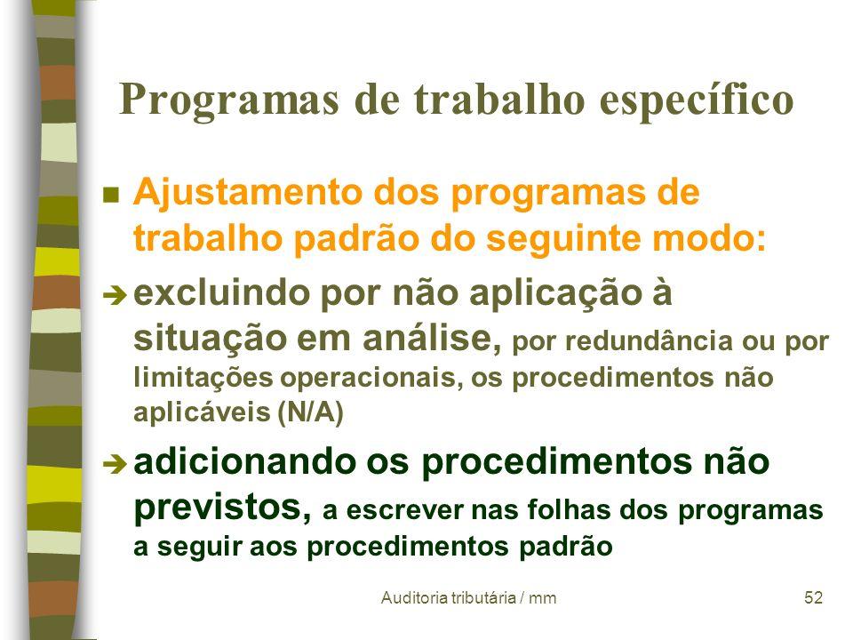 Programas de trabalho específico