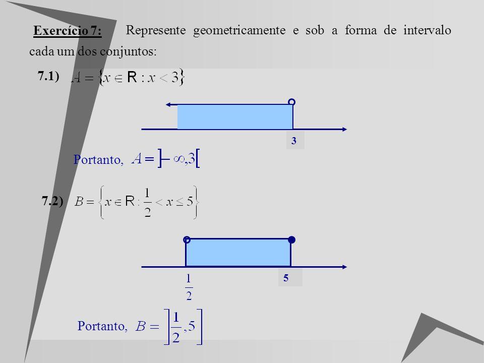 Exercício 7: Represente geometricamente e sob a forma de intervalo cada um dos conjuntos: 7.1) 3.