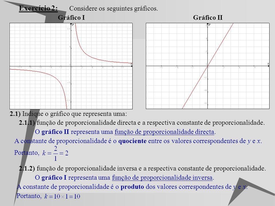 Exercício 2: Considere os seguintes gráficos. Gráfico I Gráfico II