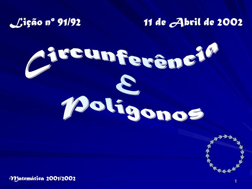 Circunferência E Polígonos Lição nº 91/92 11 de Abril de 2002