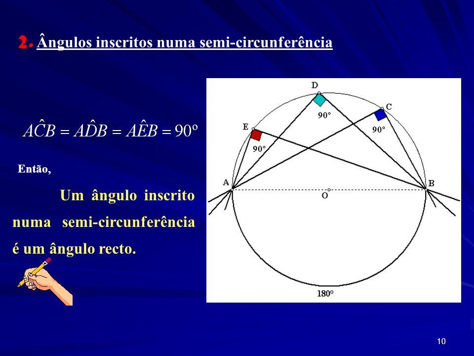 2. Ângulos inscritos numa semi-circunferência